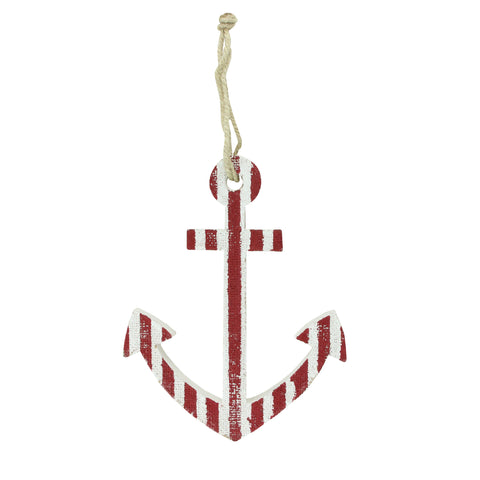"10"" Cape Cod Inspired Nautical Red and White Striped Anchor Wall Decor"