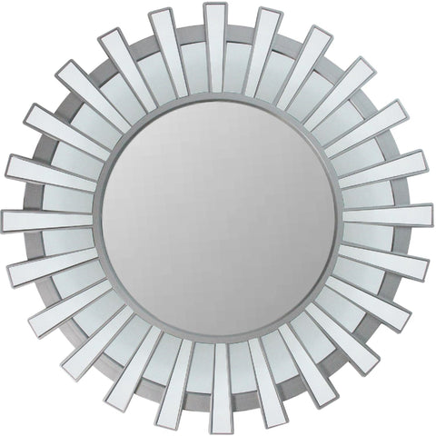 "25.5"" Matte Silver and Clear Sunburst Round Wall Mirror"