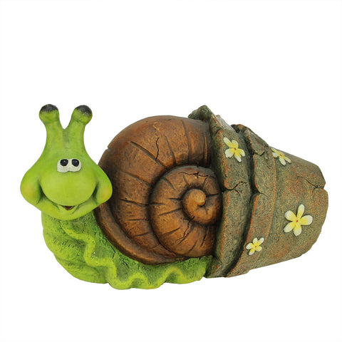 "15.25"" Bright Green and Brown Snail in Flower Pot Outdoor Garden Statue"