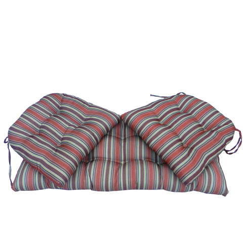 3pc Blue and Red Striped Patio Tufted Seat Cushions with Ties 41.5""