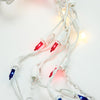 Set of 105 Red, White & Blue Twinkling 4th of July Mini Swag Lights - White Wire