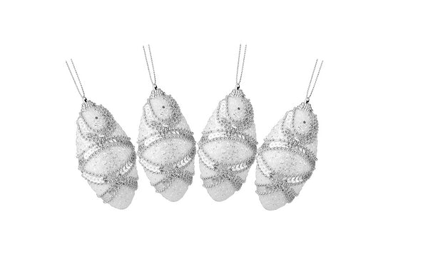 4ct White Beaded 2-Finish Shatterproof Christmas Finial Ornaments 4.5""