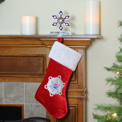 "19.25"" Red and White Pepsi Snowflake Embroidered Christmas Stocking"