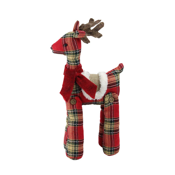 "16.5"" Red and Brown Plaid Standing Reindeer Christmas Decoration"