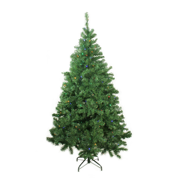 6 ft Pre-Lit LED Medium Mixed Classic Pine  Artificial Christmas Tree - Multi Lights