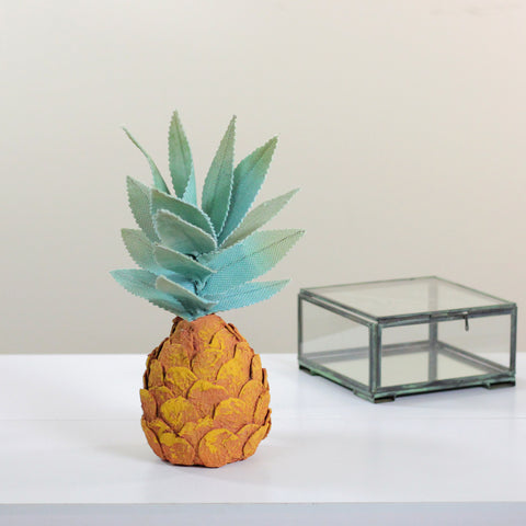 "11"" Orange Tropical Artificial Pineapple Decoration"