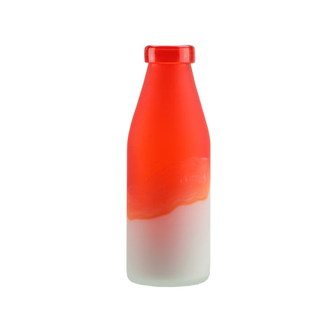 "10.25"" Flame Red and Frosted White Milk Bottle Style Hand Blown Glass Vase"