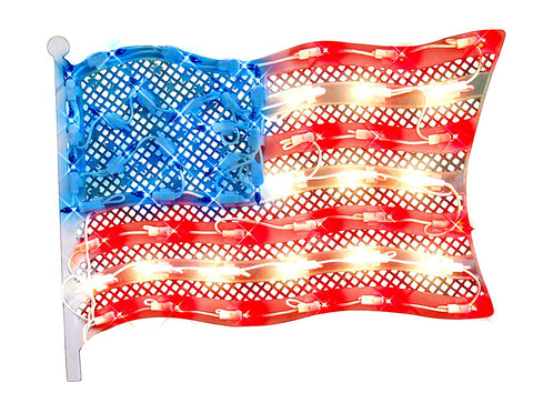 "14.5"" Red and Blue Lighted Patriotic Fourth of July American Flag Window Silhouette Decoration"