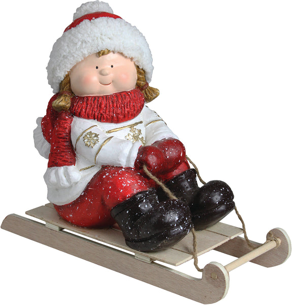 "16"" Red and White Girl on a Sled Christmas Tabletop Figure"