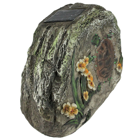 "9.75"" Brown and Green LED Lighted Solar Power Turtle and Flowers Garden Stone"