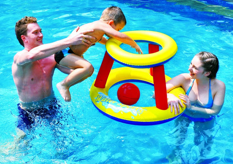 "29"" Inflatable Red and Yellow Swimming Pool Water Sports Basketball Game Set"