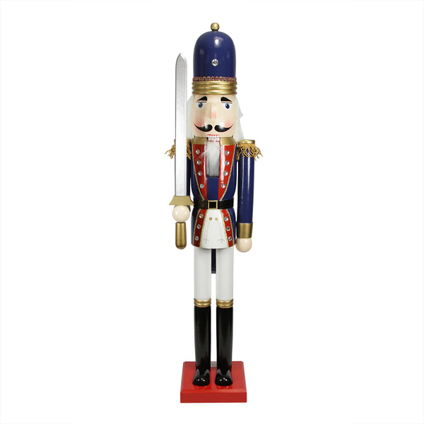 "48.25"" Blue and White Christmas Nutcracker Soldier with Sword"
