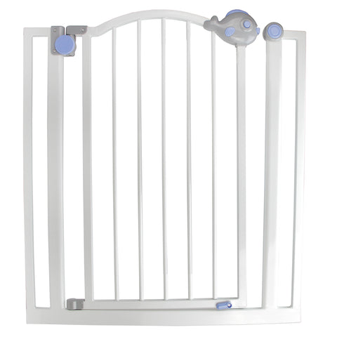Pop-O-Fish Gray, White and Blue Double Locking Safety Gate for Dogs and Children