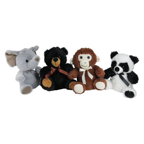 Pack of 4 Plush Sitting Bear, Elephant, Monkey and Panda Stuffed Animal Figures 9""