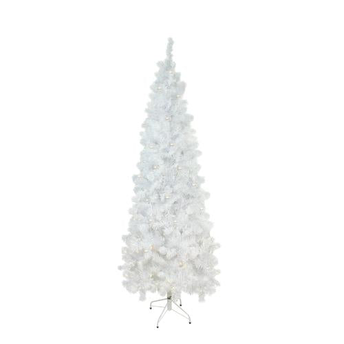 6.5' Pre-Lit Pencil White Winston Pine Artificial Christmas Tree - Clear Lights