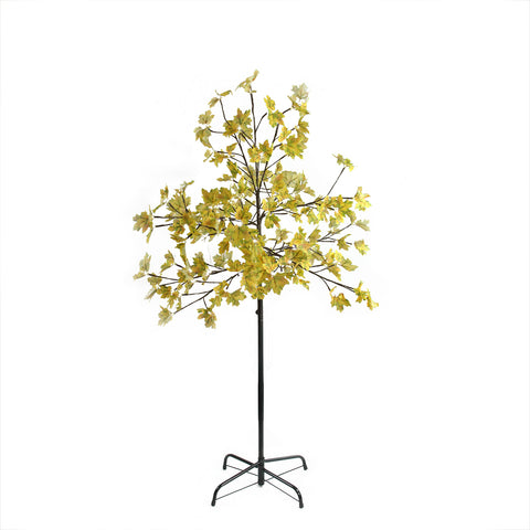5' LED Lighted Artificial Fall Harvest Yellow Maple Leaf Tree - White Lights