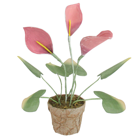 "19"" Pink and Green Artificial Decorative Calla Lily Plant"