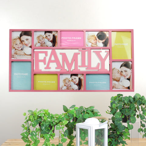 "28.75"" Pink ""FAMILY"" Photo Picture Frame Hanging Collage"