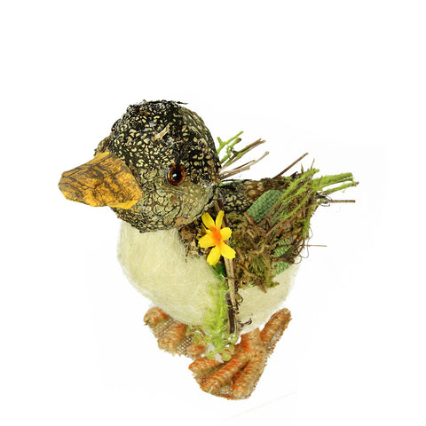 "4.25"" Brown, Ivory  and Orange Standing Duck Spring Table Top Decoration"