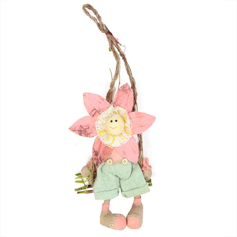 "23"" Pink, Green and Tan Spring Floral Hanging Sunflower Girl Decorative Figure"