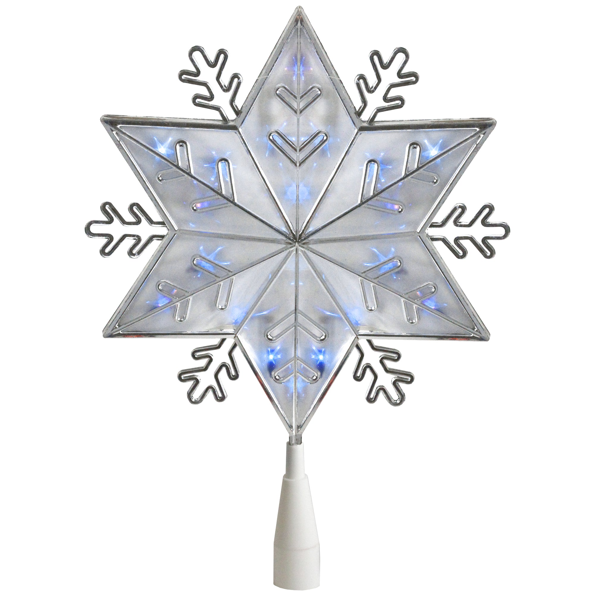 """10"""" Lighted Silver 6-Point Snowflake Christmas Tree Topper - Blue Lights"""