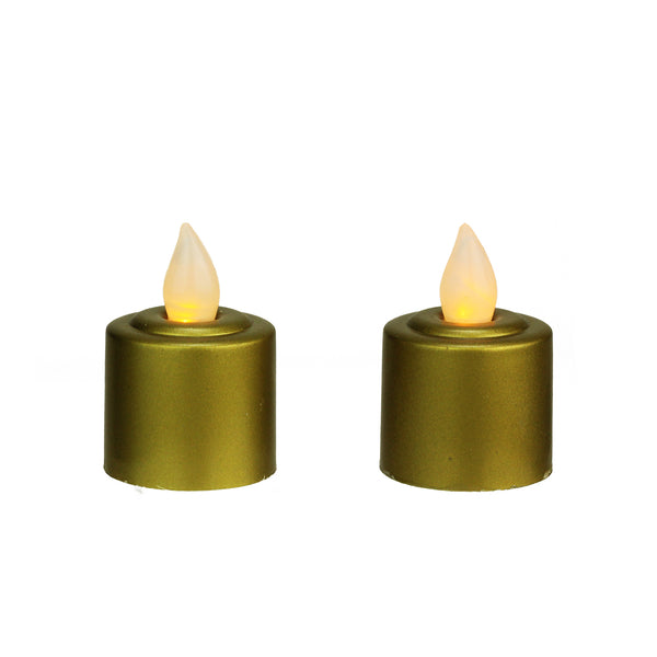 Pack of 2 Gold Battery Operated LED Flickering Amber Lighted Christmas Votive Candles 2.25""