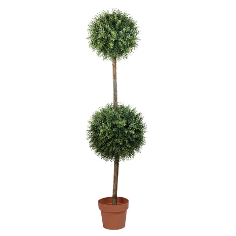 "55.5"" Potted Two-Tone Artificial Boxwood Double Ball Topiary Tree"