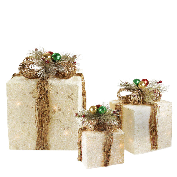 Set of 3 Cream Gift Boxes with Twine Bows Lighted Outdoor Christmas Yard Art Decor 10""
