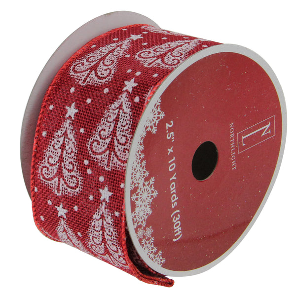 Cranberry Red and White Trees Wired Christmas Craft Ribbon 2.5 x 120 Yards