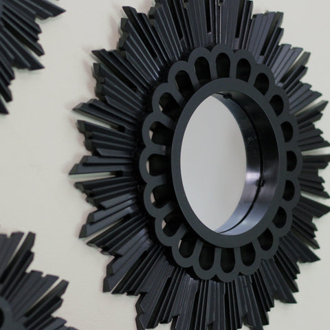 Set of 3 Floral Sunburst Matte Black Round Mirrors 9.5""