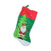 "19"" Green Felt Santa and Christmas Tree Decorative Stocking with Red Cuff"