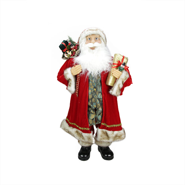 "36"" Red and White Standing Santa Claus Christmas Figurine"