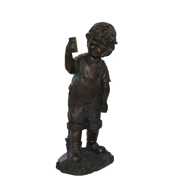 "18"" Black & Bronze Boy with Cell Phone Solar Powered Outdoor Garden Statue"