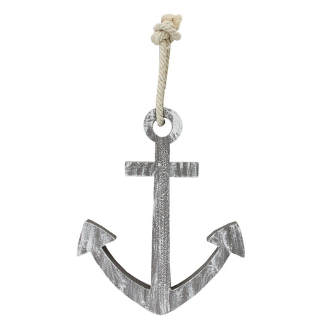 "12"" Gray Cape Cod Inspired Wall Hanging Anchor"