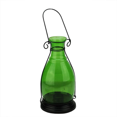 "10.5"" Transparent Green Decorative Glass Bottle Vase Tea Light Candle Lantern"
