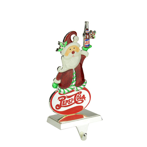 "9.75"" Silver Plated Pepsi-Cola Santa Claus Christmas Stocking Holder"