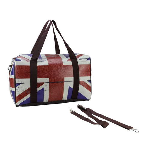 "16"" British Flag Travel Bag with Handles and Crossbody Strap"