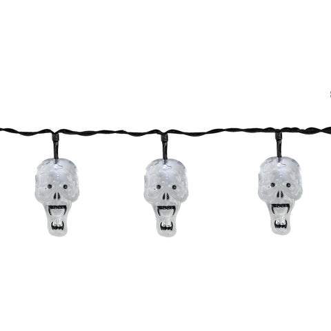 10 White Skull LED Halloween Lights - 5.75 ft Black Wire