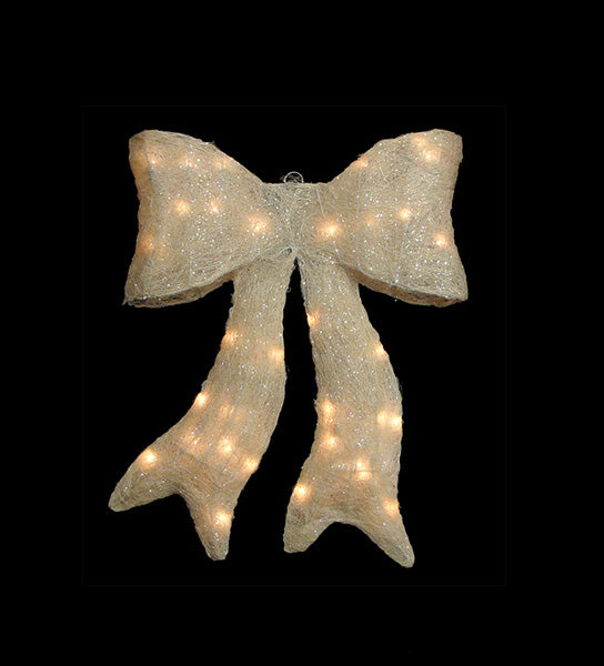 "18"" Lighted Sparkling Cream Whimsical Sisal Bow Christmas Yard Art Decoration"
