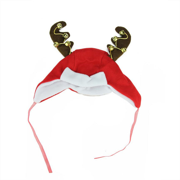 "17"" Red and White Plush Jingle Bell and Reindeer Antlers Christmas Winter Trapper Hat"