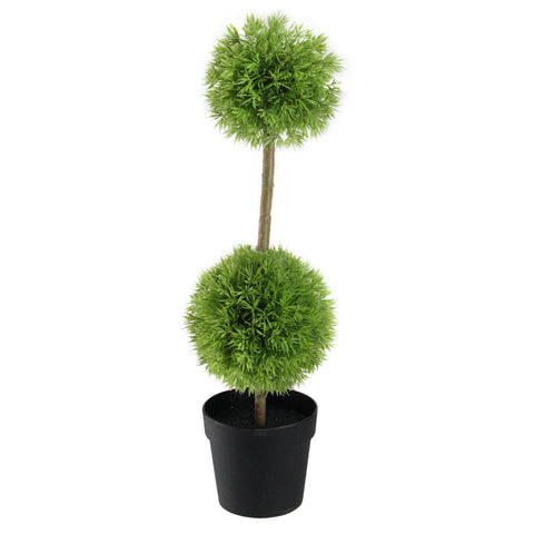 "16"" Potted Two-Tone Double Grass Ball Topiary Artificial Christmas Tree - Unlit"