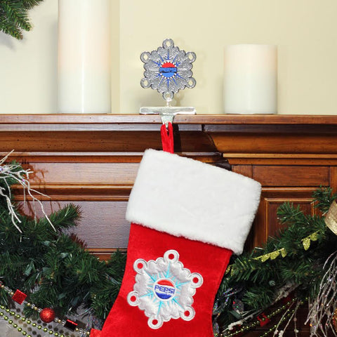 "6.5"" Silver and Blue ""PEPSI"" Snowflake Christmas Stocking Holder"