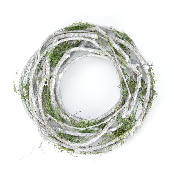 "8"" White Twig and Green Moss Artificial Spring Wreath"