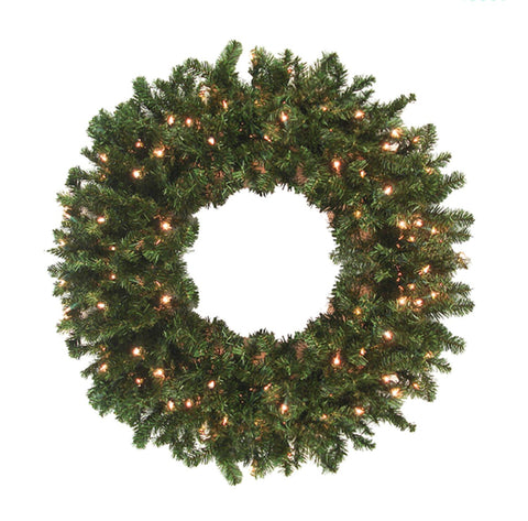 12' Pre-Lit High Sierra Pine Commercial Artificial Christmas Wreath - Clear Lights