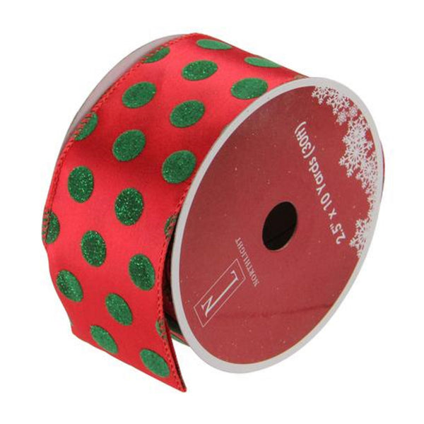 "Shimmering Red and Green Polka Dot Christmas Wired Craft Ribbon 2.5"" x 10 Yards"