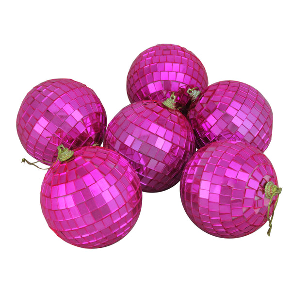 "6ct Bubblegum Pink Disco Ball Christmas Ornaments 3.25"" (80mm)"