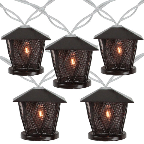 10 Candle Lantern Summer Garden Patio Lights - 7.1 ft White Wire