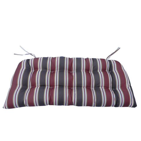 3pc Red and Black Striped Tufted Wicker Furniture Outdoor Patio Cushions 41.5""