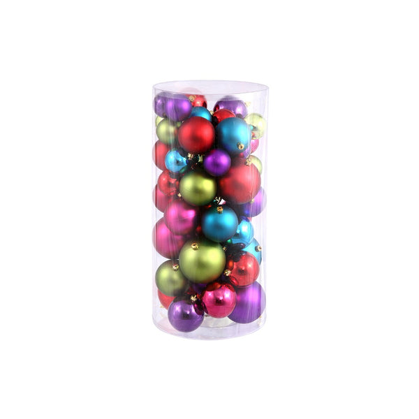 "50ct Red and Purple Shatterproof 2-Finish Christmas Ball Ornaments 4"" (100mm)"