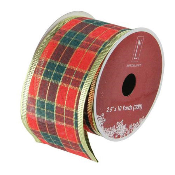 "Green and Red Plaid Wired Christmas Craft Ribbon 2.5"" x 10 Yards"